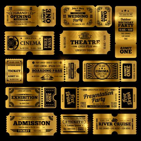 Modèles de billets d'admission vintage pour le cirque, la fête et le cinéma. Billets d'or isolés sur fond noir Vecteurs