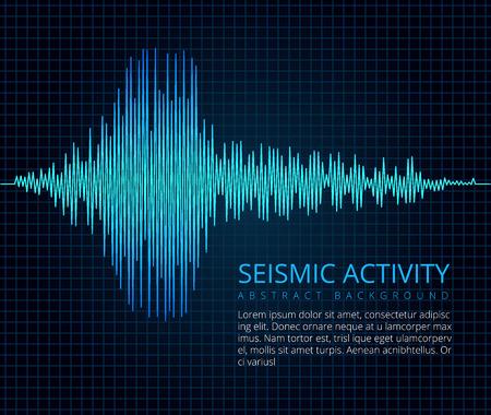 Aardbevingsfrequentie golfgrafiek, seismische activiteit. Vector abstracte wetenschappelijke achtergrond Vector Illustratie