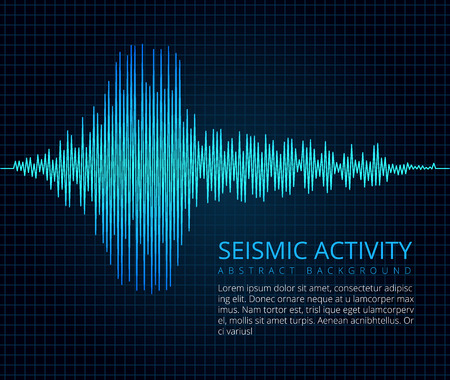 Earthquake frequency wave graph, seismic activity. Vector abstract scientific background