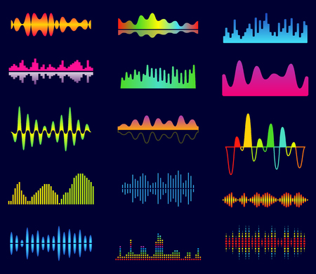Music equalizer, audio analog waves, studio sound frequency, music player waveform, sound spectrum signal, sonic tracks vector set
