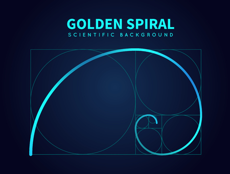 Mathematics formula of fibonacci spiral. Golden ratio section rule. Vector abstract background Stok Fotoğraf