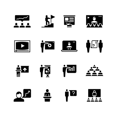 Presentation business event symbols. Training video conference icons. Students in class with speaker pictograms vector set isolated