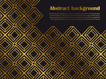 Abstract minimal style background with golden geometric shapes