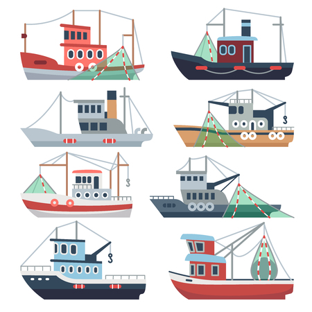 Fishing ocean boats. Commercial trawlers, fisherman ships sea and river vessels isolated vector set