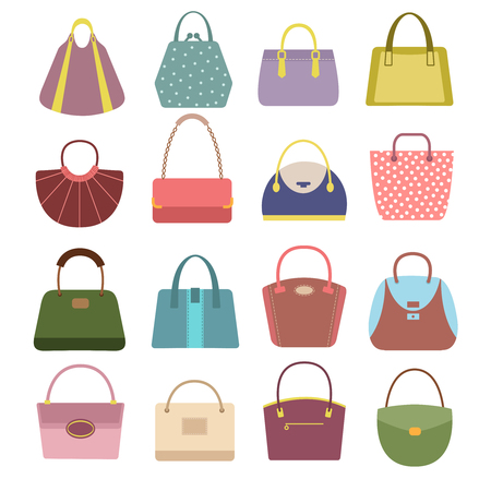 Casual womens leather handbags and purses. Ladies bags vector icons isolated