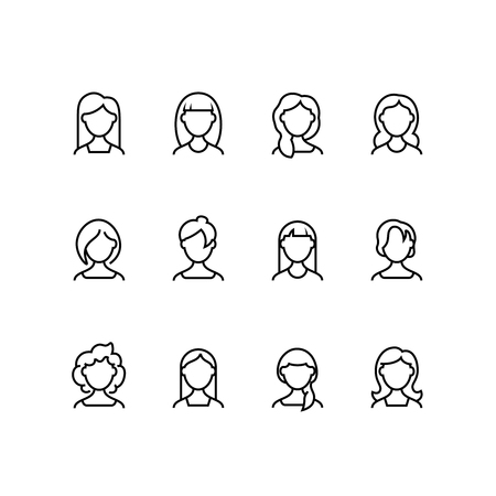 Woman face line icons. Female profile outline symbols with different hairstyles. Womans portrait vector pictograms isolated