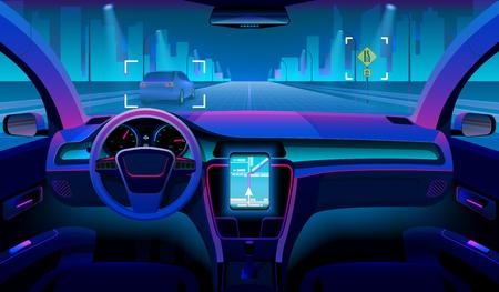 Futuro vehículo autónomo, interior de coche sin conductor con obstáculos y paisaje nocturno exterior. Concepto de vector de asistente de coche futurista