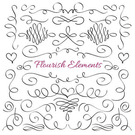 Classic elegant flourish decorative elements. Royal calligraphic swirls line vector collection