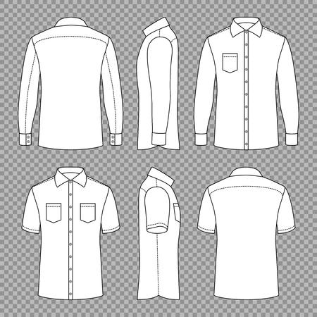 Casual Mans Blank Outline Shirts mit kurzen und langen Ärmeln vorne hinten und Seitenansichten. Vektorschablone isoliert