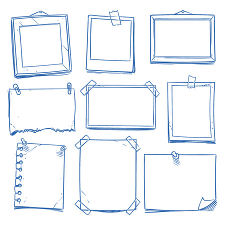 Doodle blank memo, notepaper. Hand drawn school notice and photo frames isolated vector set
