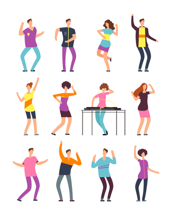 Young funny men and women dancing at summer party. Friendly people in vacation. Vector cartoon characters isolated