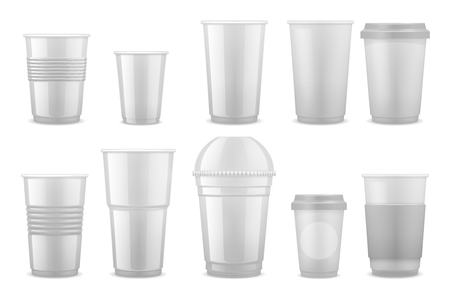 Empty clear white plastic disposable cups, takeaway containers for cold beverage, soda, tea and coffee vector template isolated