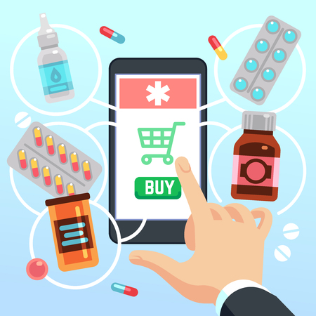 Buyers hand selects and buys drugs and medications on cell phone screen. Online pharmacy app vector concept