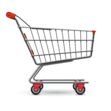 Illustrazione di vettore del carrello della spesa realistico supermercato vuoto isolato su priorità bassa bianca Vettoriali