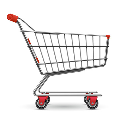 Realistic empty supermarket shopping cart vector illustration isolated on white background