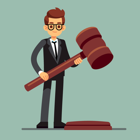 Business lawyer holding wooden judge gavel. Legal verdict, legislation authority vector concept Stock Illustratie