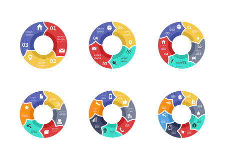 Circle graphic, pie diagrams, round charts with icons, options, parts, steps, process sectors vector set