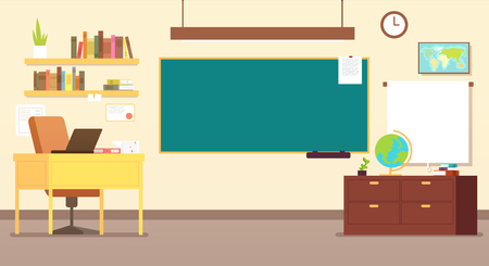 Nobody school classroom interior with teachers desk and blackboard vector illustration