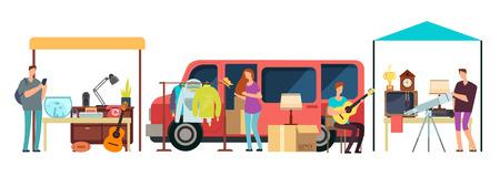 Mensen die tweedehands kleding verkopen, tweedehands kleding kopen, vintage goederen in mini-tracks op rommelmarkt. Bazaar met retro dingen vectorillustratie Vector Illustratie