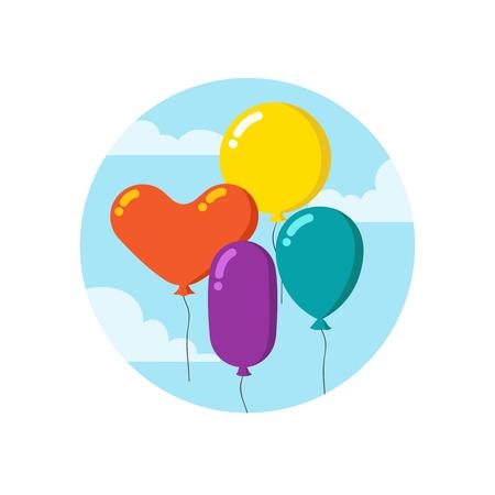 Manojo de coloridos dibujos animados de globos. Decoración de vector de feliz cumpleaños aislada