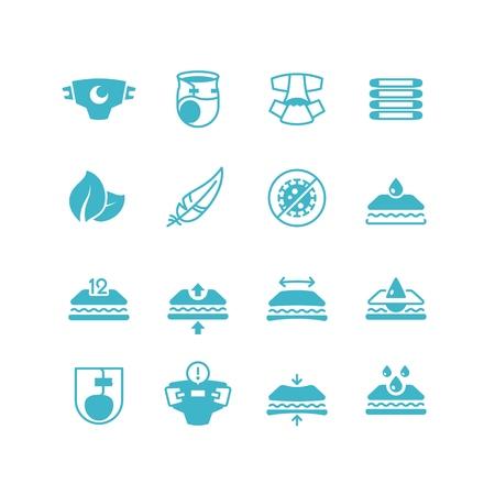 Babyluiers productie kenmerken pictogrammen. Zachte, droge, rekbare, ademende luier met vectorsymbolen voor absorber