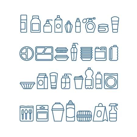 Paquete de productos de plástico, vajillas desechables, recipientes de alimentos, vasos y platos, iconos vectoriales de línea