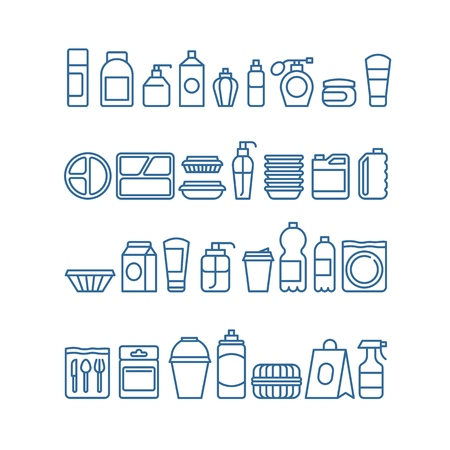 Plastic product package, disposable tableware, food containers, cups and plates line vector icons