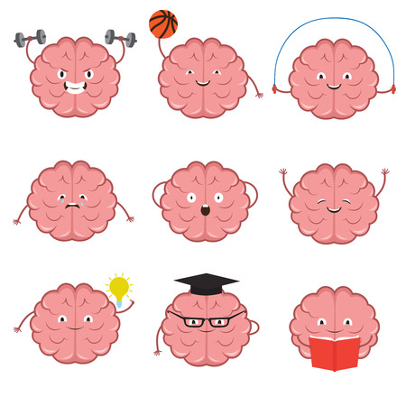 Strong, healthy, sports and smart brain vector cartoon characters set Illustration