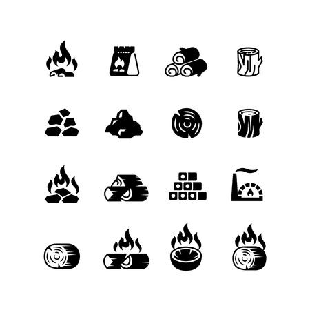 Carbone di legna, carbone ardente per le icone isolate di vettore del barbecue Vettoriali