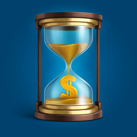 Hourglass with flowing sand and dollar currency sign. Time is money vector concept Illustration