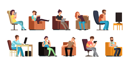 Sedentary man and woman on couch watching tv, phone, reading. Lazy lifestyle cartoon vector characters isolated