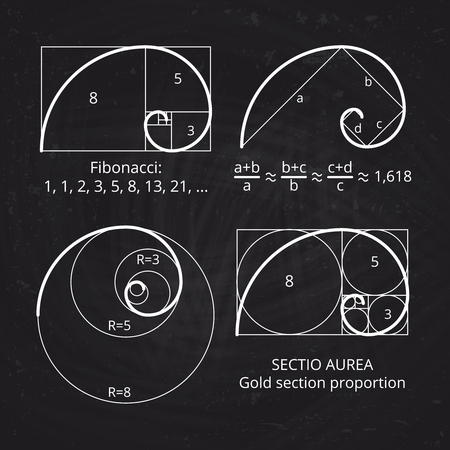 Scheme of golden ratio section, fibonacci spiral on blackboard vector illustration