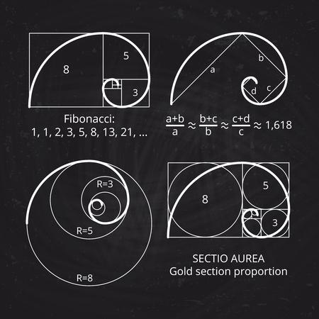 Scheme of golden ratio section, fibonacci spiral on blackboard vector illustration