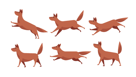 Running cartoon dog animation sprite sheet vector set isolated Illustration