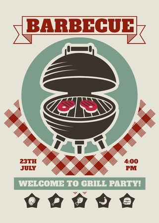 Retro barbecue party restaurant invitation template. BBQ cookout vector poster with classic charcoal grill Çizim