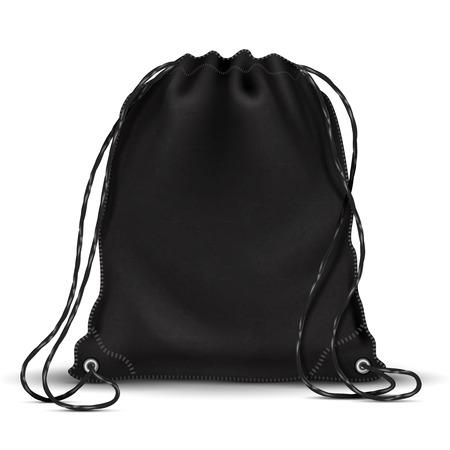 Sport backpack, backpacker bag with drawstrings. 3d black schoolbag. Isolated vector illustration
