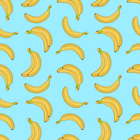 Sweet fruit yellow bananas seamless vector pattern Illustration
