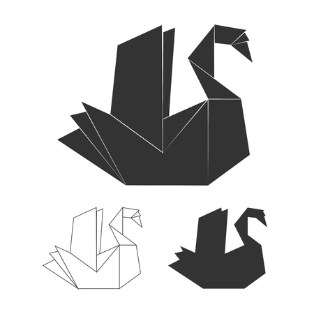Paper origami vector swan on white background. Black swan logo set  イラスト・ベクター素材