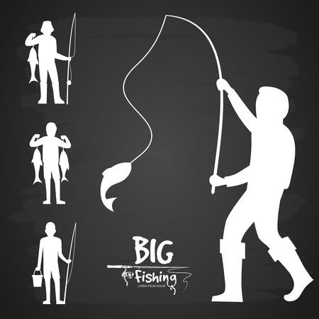 White fisherman silhouette vector design