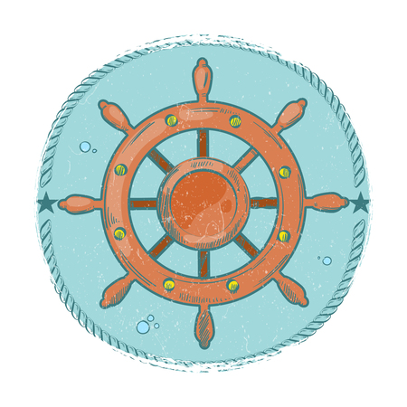 Grunge nautical emblem. Hand drawn sea wheel