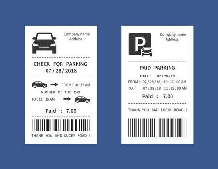 Parking ticket, money penalty receipt vector illustration isolated