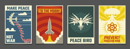 Carteles antiguos soviéticos contra la guerra, propaganda pacífica vector