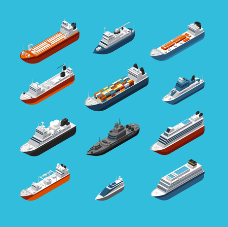 Isometric 3d military and passenger ships, boat and yacht vector sea transportation and shipping icons isolated