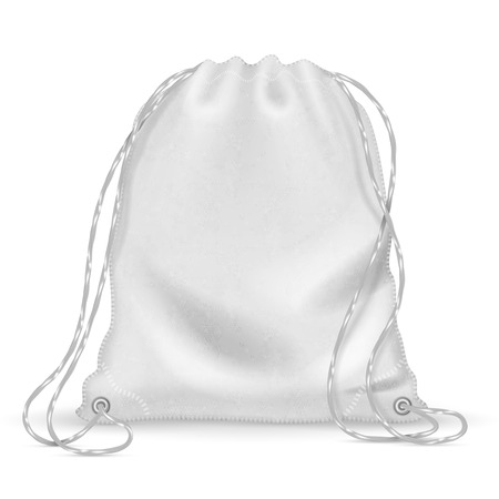 White sports backpack, backpacker cloth bag with drawstrings. Isolated vector template Illustration