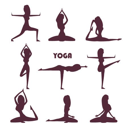 Yoga exercises and meditation female silhouettes Illustration