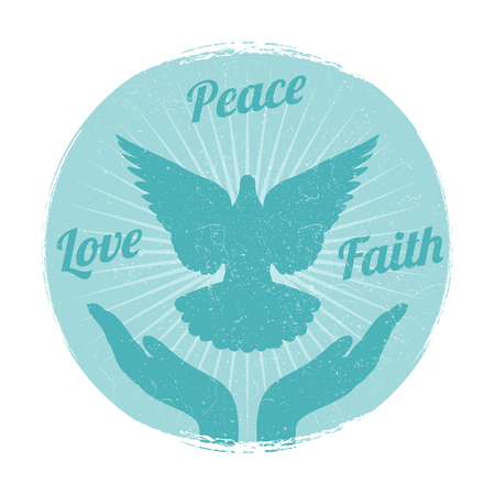 Grunge dove peace flying from hands. Love, freedom and religion faith vector Illustration