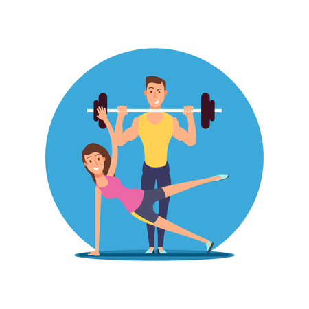 Fitness fun person vector cartoon characters. Flat sport motivation illustration