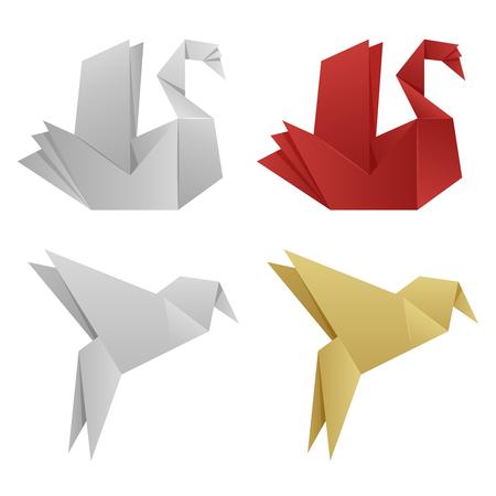 Vector japanese origami birds