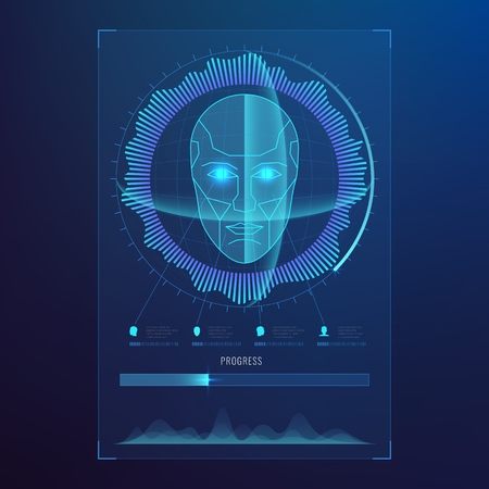 Face digital recognition, id faces biometric scanning to safe access abstract vector futuristic background Illustration