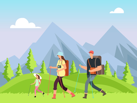 Hiking family in nature. Trekking man, woman and children with outdoor mountain landscape. Summer adventure vector background